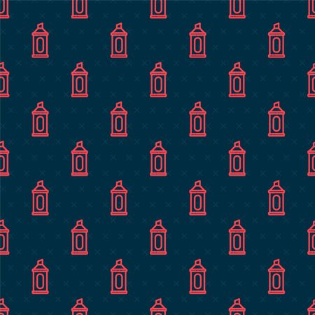 Red line Marker pen icon isolated seamless pattern on black background. Vector Illustration