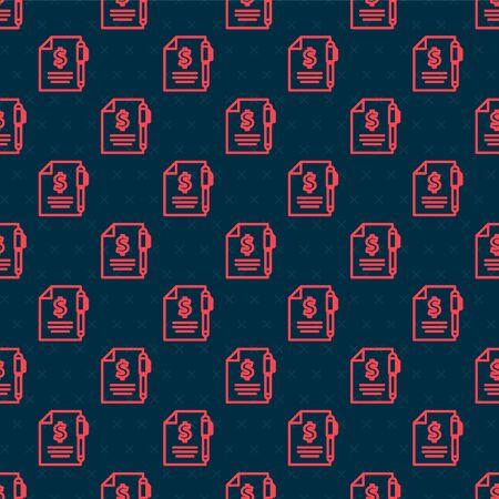 Red line Contract money and pen icon isolated seamless pattern on black background. Banking document dollar file finance money page. Vector Illustration Stockfoto - 142066537