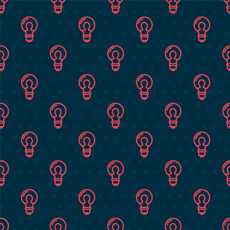 Red line Light bulb with concept of idea icon isolated seamless pattern on black background. Energy and idea symbol. Inspiration concept. Vector Illustration