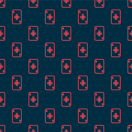 Red line Playing card with clubs symbol icon isolated seamless pattern on black background. Casino gambling. Vector Illustration