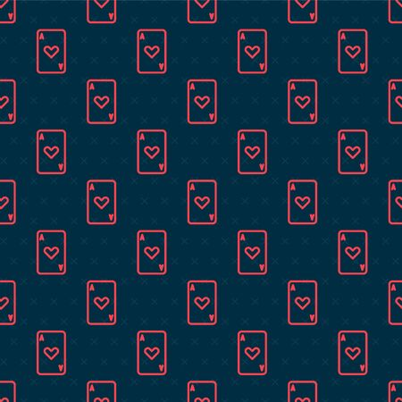 Red line Playing card with heart symbol icon isolated seamless pattern on black background. Casino gambling. Vector Illustration