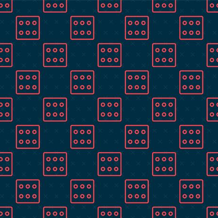 Red line Game dice icon isolated seamless pattern on black background. Casino gambling. Vector Illustration Иллюстрация