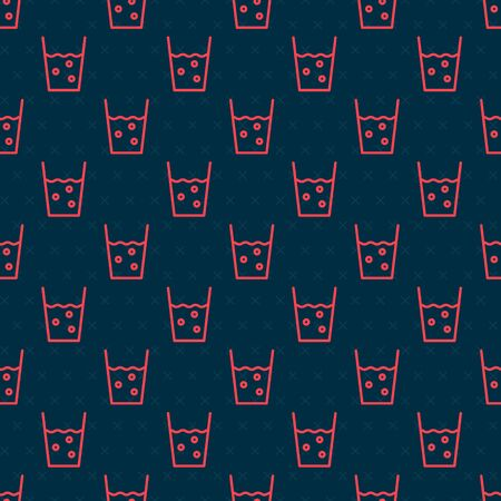 Red line Glass with water icon isolated seamless pattern on black background. Soda glass. Vector Illustration