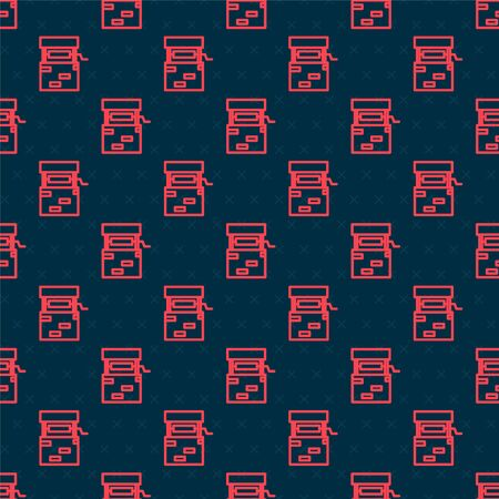 Red line Well icon isolated seamless pattern on black background. Vector Illustration