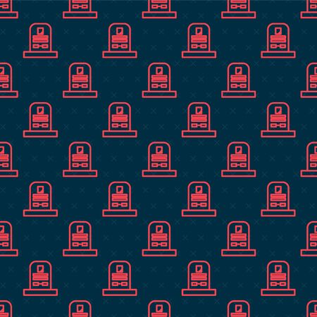 Red line Tombstone with RIP written on it icon isolated seamless pattern on black background. Grave icon. Vector Illustration