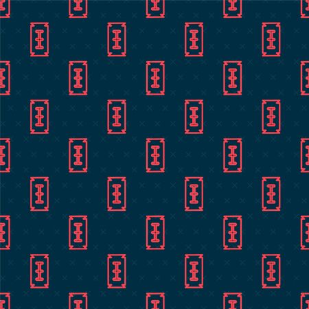 Red line Blade razor icon isolated seamless pattern on black background. Vector Illustration