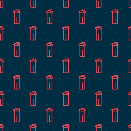 Red line Lighter icon isolated seamless pattern on black background. Vector Illustration Ilustração