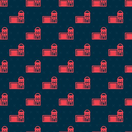 Red line Building of fire station icon isolated seamless pattern on black background. Fire department building. Vector Illustration