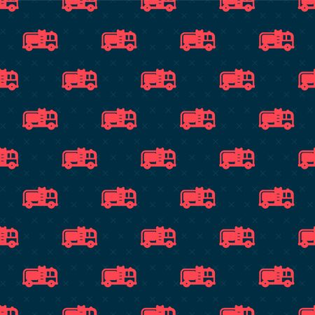 Red line Fire truck icon isolated seamless pattern on black background. Fire engine. Firefighters emergency vehicle. Vector Illustration