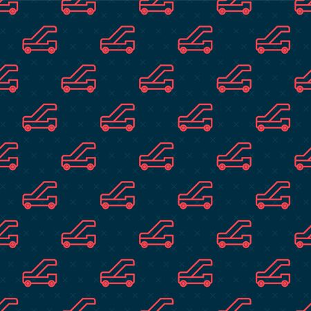 Red line Passenger ladder for plane boarding icon isolated seamless pattern on black background. Airport stair travel. Vector Illustration