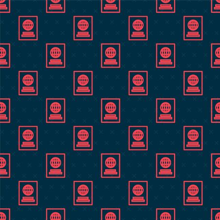 Red line Passport with biometric data icon isolated seamless pattern on black background. Identification Document. Vector Illustration Foto de archivo - 142067349