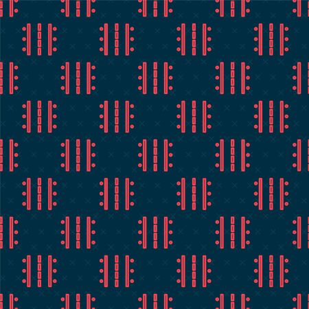 Red line Airport runway for taking off and landing aircrafts icon isolated seamless pattern on black background. Vector Illustration Векторная Иллюстрация