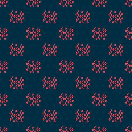 Red line Festive confetti icon isolated seamless pattern on black background. Vector Illustration