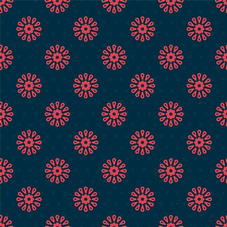 Red line Firework icon isolated seamless pattern on black background. Concept of fun party. Explosive pyrotechnic symbol. Vector Illustration