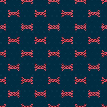 Red line Barbed wire icon isolated seamless pattern on black background. Vector Illustration Illusztráció