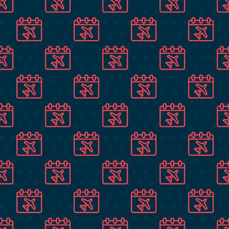 Red line Travel planning calendar and airplane icon isolated seamless pattern on black background. A planned holiday trip. Vector Illustration Illusztráció