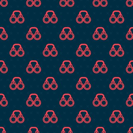Red line Sexy fluffy handcuffs icon isolated seamless pattern on black background. Fetish accessory. Sex shop stuff for sadist and masochist. Vector Illustration