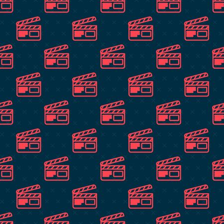 Red line Movie clapper icon isolated seamless pattern on black background. Film clapper board. Clapperboard sign. Cinema production or media industry. Vector Illustration