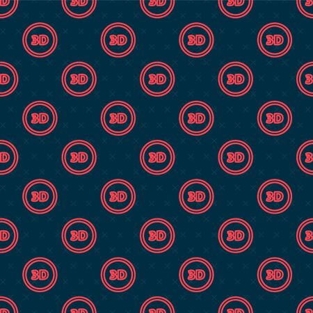 Red line 3D word icon isolated seamless pattern on black background. Vector Illustration
