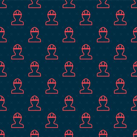 Red line Worker safety helmet icon isolated seamless pattern on black background. Vector Illustration Ilustração