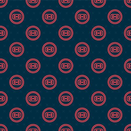 Red line Electrical outlet icon isolated seamless pattern on black background. Power socket. Rosette symbol. Vector Illustration Stock Illustratie
