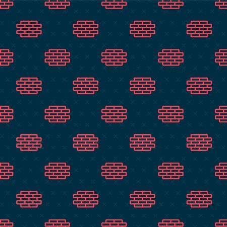 Red line Bricks icon isolated seamless pattern on black background. Vector Illustration