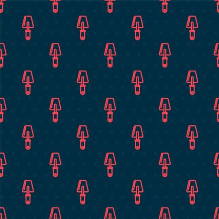 Red line Trowel icon isolated seamless pattern on black background. Vector Illustration