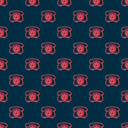 Red line Telephone icon isolated seamless pattern on black background. Landline phone. Vector Illustration