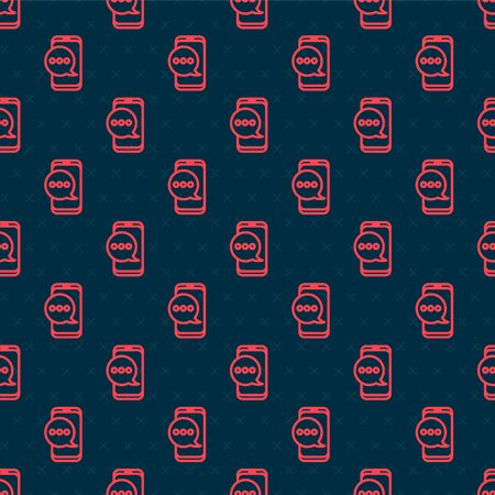 Red line New chat messages notification on phone icon isolated seamless pattern on black background. Smartphone chatting sms messages speech bubbles. Vector Illustration