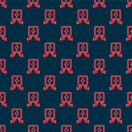 Red line Electric transformer icon isolated seamless pattern on black background. Vector Illustration