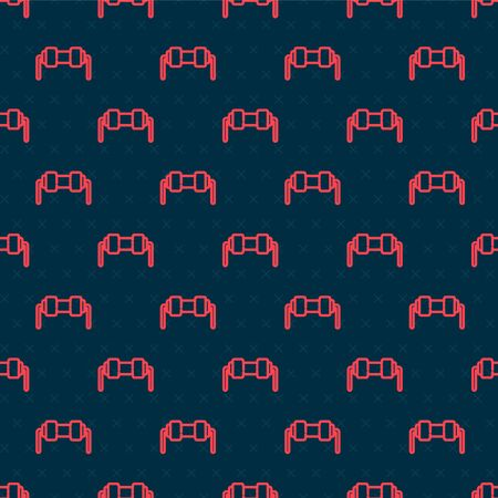 Red line Resistor electricity icon isolated seamless pattern on black background. Vector Illustration