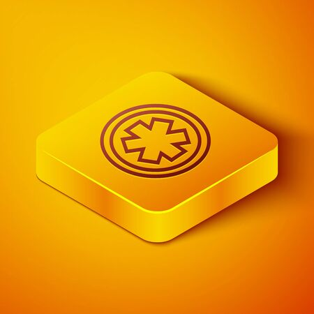 Isometric line Medical symbol of the Emergency - Star of Life icon isolated on orange background. Yellow square button. Vector Illustration
