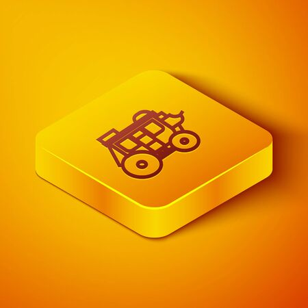 Isometric line Western stagecoach icon isolated on orange background. Yellow square button. Vector Illustration