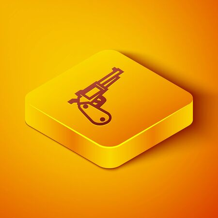 Isometric line Revolver gun icon isolated on orange background. Yellow square button. Vector Illustration