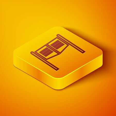 Isometric line Old western swinging saloon door icon isolated on orange background. Yellow square button. Vector Illustration