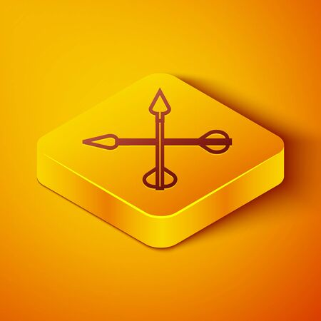 Isometric line Crossed arrows icon isolated on orange background. Yellow square button. Vector Illustration