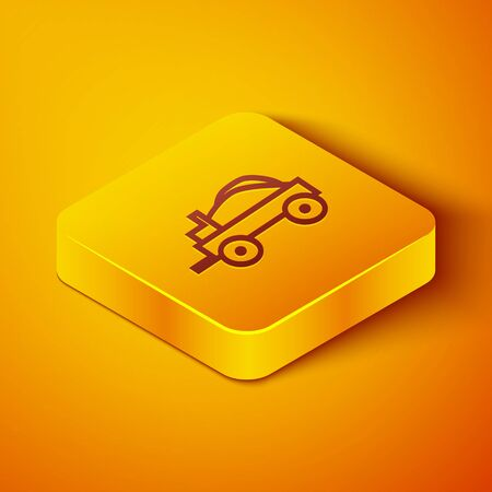 Isometric line Wild west covered wagon icon isolated on orange background. Yellow square button. Vector Illustration Stock Illustratie