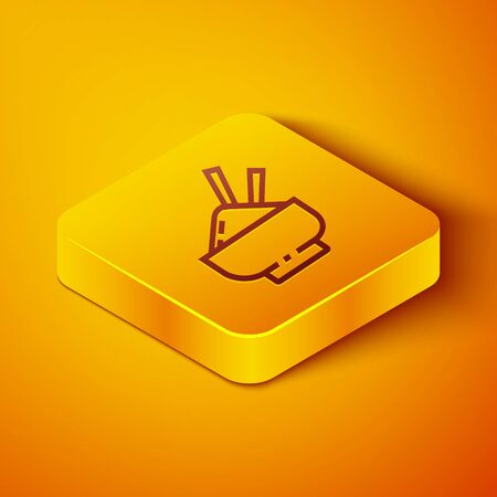 Isometric line Rice in a bowl with chopstick icon isolated on orange background. Traditional Asian food. Yellow square button. Vector Illustration