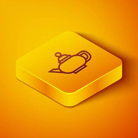 Isometric line Traditional Chinese tea ceremony icon isolated on orange background. Teapot with cup. Yellow square button. Vector Illustration