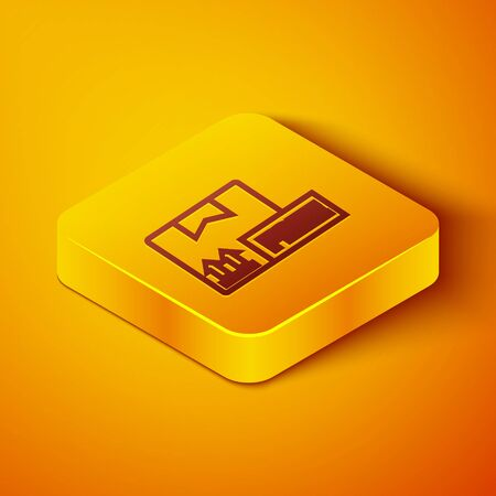 Isometric line Cardboard box with free symbol icon isolated on orange background. Box, package, parcel. Delivery, transportation and shipping. Yellow square button. Vector Illustration