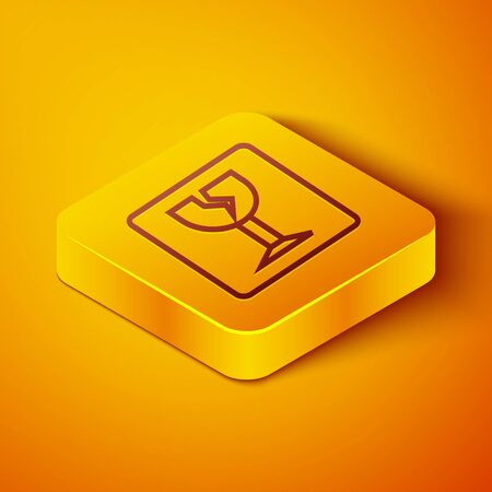 Isometric line Fragile broken glass symbol for delivery boxes icon isolated on orange background. Yellow square button. Vector Illustration