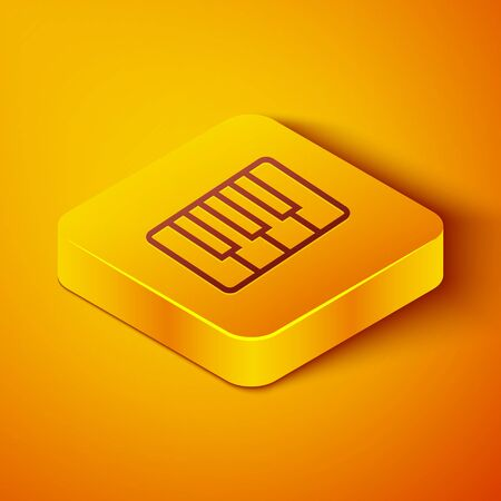 Isometric line Music synthesizer icon isolated on orange background. Electronic piano. Yellow square button. Vector Illustration