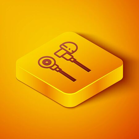 Isometric line Air headphones icon icon isolated on orange background. Holder wireless in case earphones garniture electronic gadget. Yellow square button. Vector Illustration Çizim