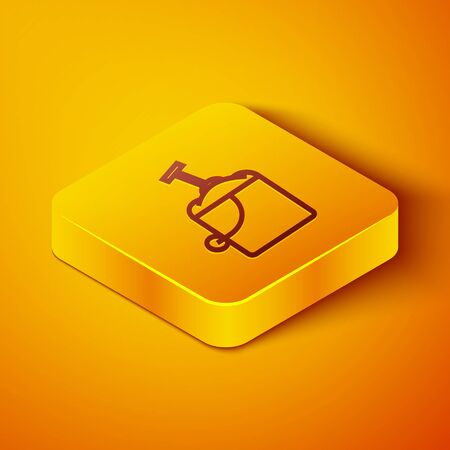 Isometric line Sand in bucket with shovel icon isolated on orange background. Plastic kid toy. Summer icon. Yellow square button. Vector Illustration