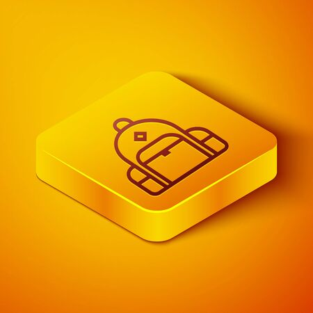 Isometric line Hiking backpack icon isolated on orange background. Camping and mountain exploring backpack. Yellow square button. Vector Illustration