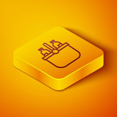 Isometric line Cooler bag and water icon isolated on orange background. Portable freezer bag. Handheld refrigerator. Yellow square button. Vector Illustration