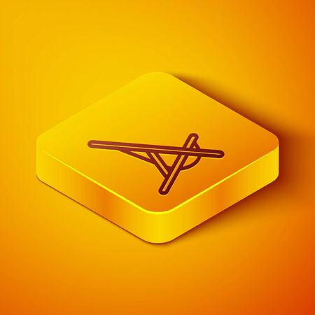 Isometric line Sunbed icon isolated on orange background. Yellow square button. Vector Illustration Vettoriali