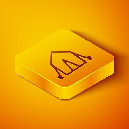 Isometric line Tourist tent icon isolated on orange background. Camping symbol. Yellow square button. Vector Illustration