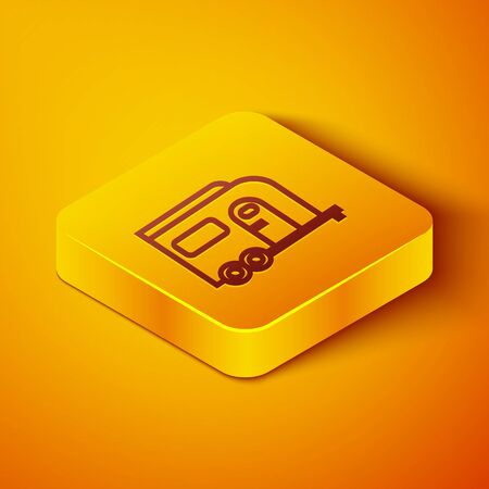 Isometric line Rv Camping trailer icon isolated on orange background. Travel mobile home, caravan, home camper for travel. Yellow square button. Vector Illustration Ilustração