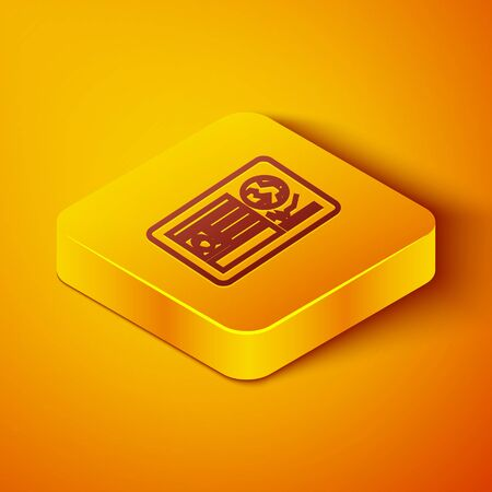 Isometric line Passport with visa stamp icon isolated on orange background. Identification Document. Yellow square button. Vector Illustration Foto de archivo - 142175675